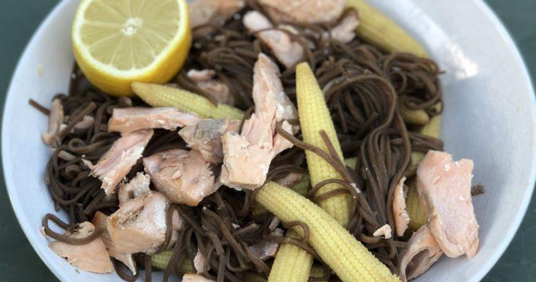 Salmon Soba Noodles (4 Ingredients)